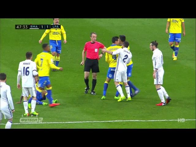 Gareth Bale red card. Real Madrid - Las Palmas. La Liga. 1.3.2017