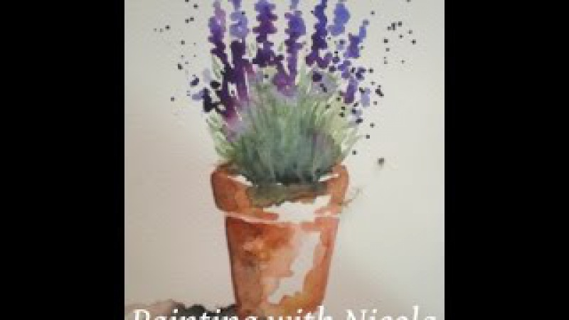 You can paint this 'Pot of Lavender', in watercolours, in 10 minutes