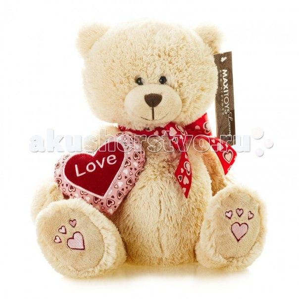 Мягкая игрушка Luxury Мишка Лука с сердцем и бантом 24 см, Maxitoys