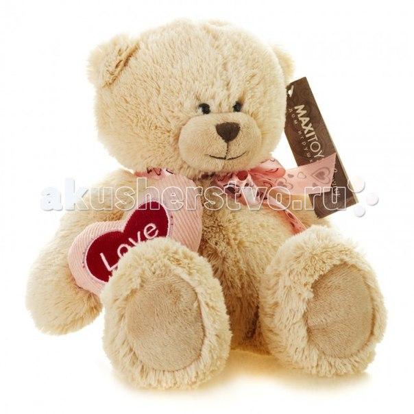 Мягкая игрушка Luxury Мишка Лука с сердцем 24 см, Maxitoys