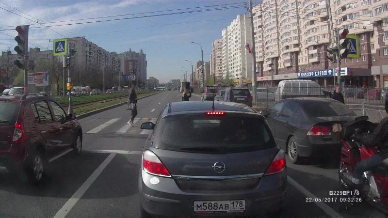 Хонда У157МВ 98 езда на красный свет
