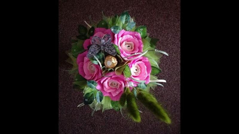 МК по изготовлению букета из трёхцветных роз с конфетой Small bouquet of roses