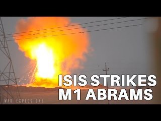 Iraqi M1 Abrams tank struck by ISIS Kornet missile, cooks off
