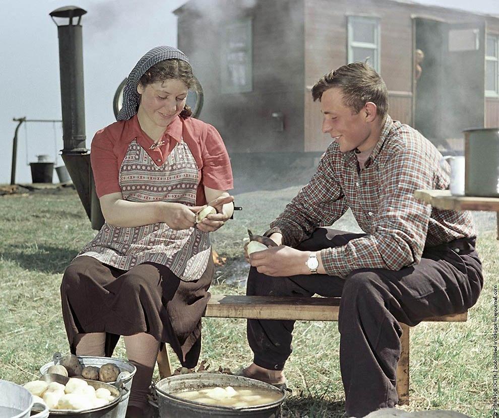 Целинники готовят обед на полевом стане, 1955.  Фото: Исаак Тункель