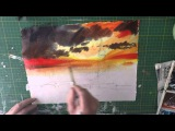 Silhouette Houses of Parliament watercolour, how to mix colourful darks