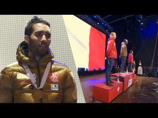 Men's pursuit MEDAL ceremony - M.Fourcade, J.Bø, O.Bjørndalen - VM Hochfilzen 2017