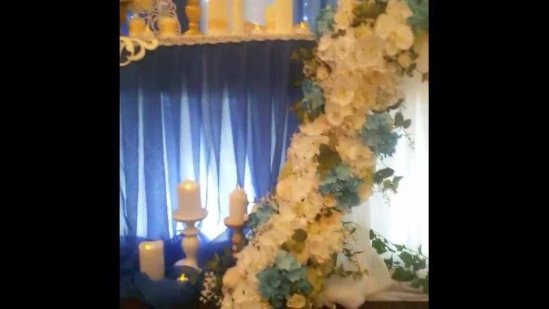 Свадебное оформление в синих оттенках.