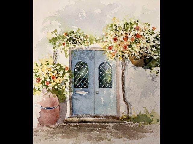 Акварельная Акварель, Рисуем дверь лессировкой одной кистью.. Исправление ошибо...