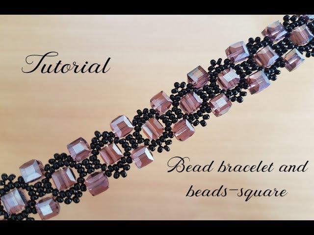 МК Браслет из бисера и квадратных бусин Bead bracelet and beads square