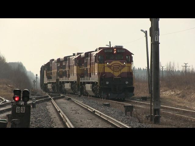 Тройной американский тепловоз Ц36 на ст. Ракке / Triple GE C36-7i at Rakke station