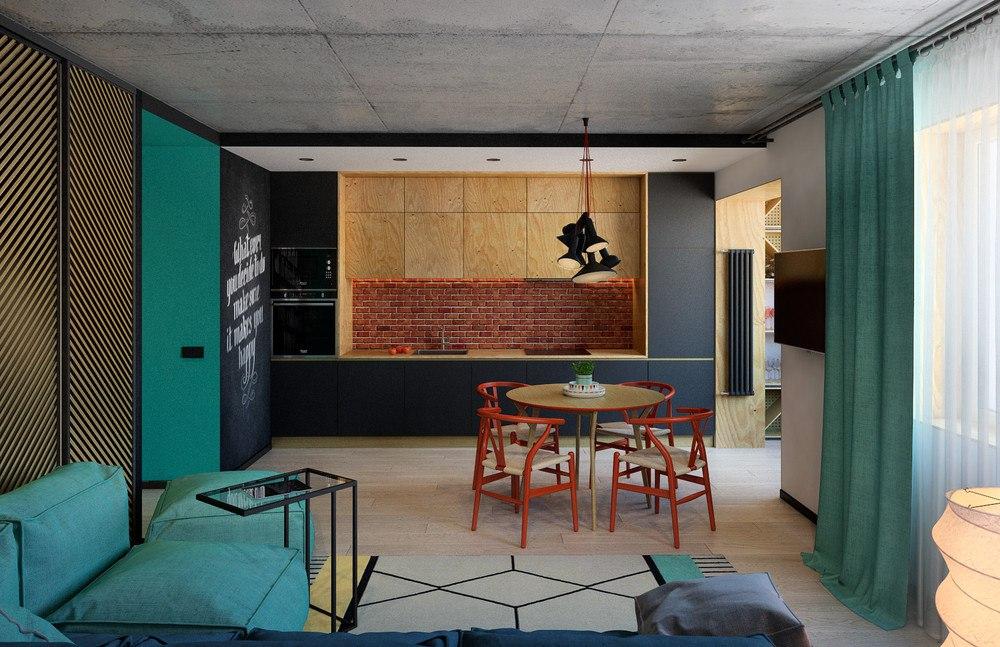 Проект кухни-гостиной 28 м.