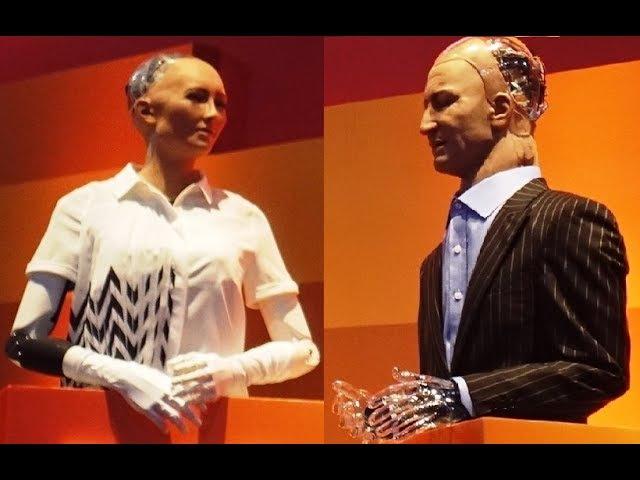 Two AI robots Sophia Han debate the future of humanity - Rise 2017