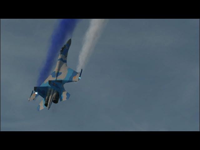 DCS World - Су 27 - Inverted Cobra - Su-27 Cobra Show Vertical Landing - 4K - 21:9 - 3840 x 1600p