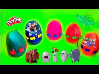 Unboxing kinder surprise Play-doh eggs LPS Littlest Pet Shop Disney Frozen The Secret Life of Pets