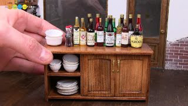 DIY Dollhouse items Miniature Low Cupboard ミニチュアローカップボード作り