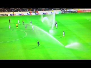 Система полива газона прервала матч Лиги Европы