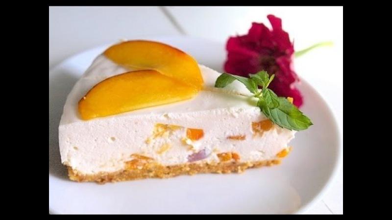 Йогуртовый торт из печенья с персиками
