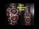 DIY decorate empty bottle with mandala art, room decor, painted bottle.