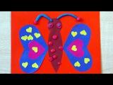 Бабочка. Аппликация из цветной бумаги и пластилина. Весенние поделки для детей 2 ...
