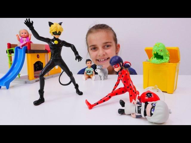 Spielspaß mit Ayça - Ladybug und Chat Noir auf Deutsch - Barbie Spielsachen