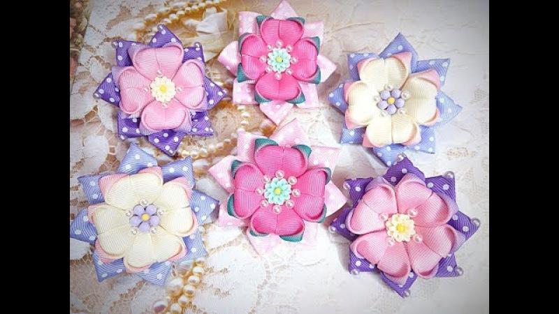 Простые бантики резинки канзаши из лент / hair clips ribbon kanzashi DIY