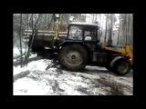 Трактор мтз, борекс грузит лес -MTZ tractors, timber ship Boreks