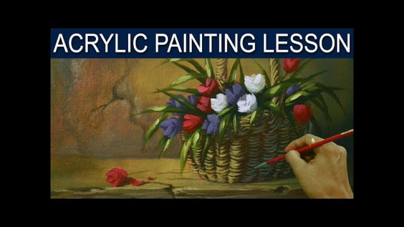 Acrylic Painting Lesson | Tulips Flowers in the Basket by JM Lisondra