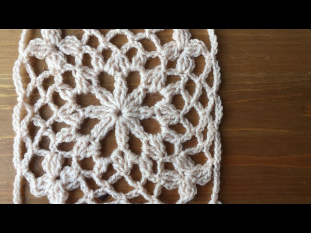 Ажурный мотив крючком. Бабушкин квадрат. Crochet square motif.