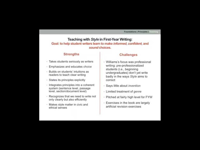 Teaching with Style Using Joseph Williams's Classic Guide with Students