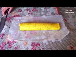 Рулет из Омлета с Плавленными Сырками-Roll The Omelet-Простой Рецепт(Очень Вкусно и Быстро)