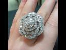 Стильное кольцо из белого золота 750 пробы и чистейших южноафриканских бриллиантов