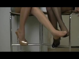 Beautiful women presenting their exquisite feet in nylon stocking pantyhose and high heels