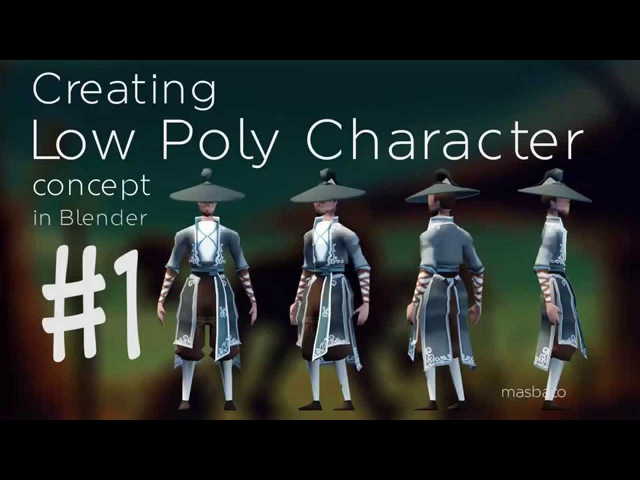 Blender 2.73 character concept low poly speed modeling