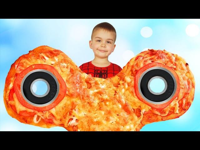 Bad Baby Гигантский Спиннер! Giant Fidget Spinner Pizza Spiderman Hulk Вредный Джокер испортил еду