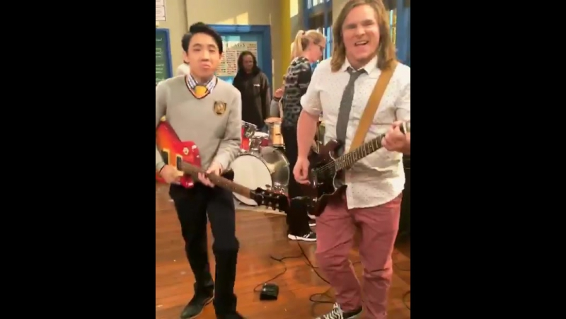 KICKIN IT INTO WEEKEND GEAR! schoolofrock style w/ my Axe Bro @lancedaelim 🎸👊 @nickelodeon saturday