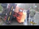Автокран перевернулся на дороге в Бердске