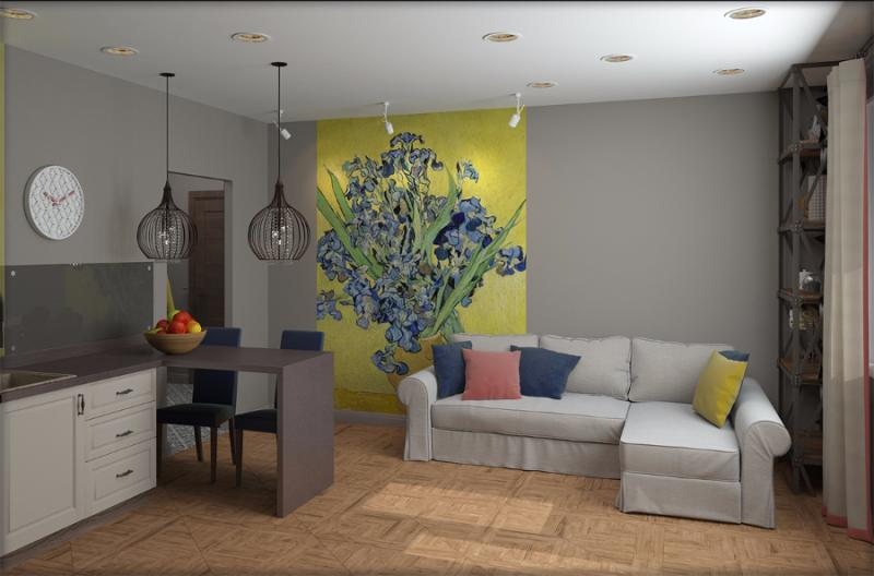 Проект студии 33 м Дизайнер Валентина Шойдина, Новосибирск.