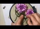 Хризантема вышитая лентами объемная Chrysanthemum embroidered with ribbons three dimensional