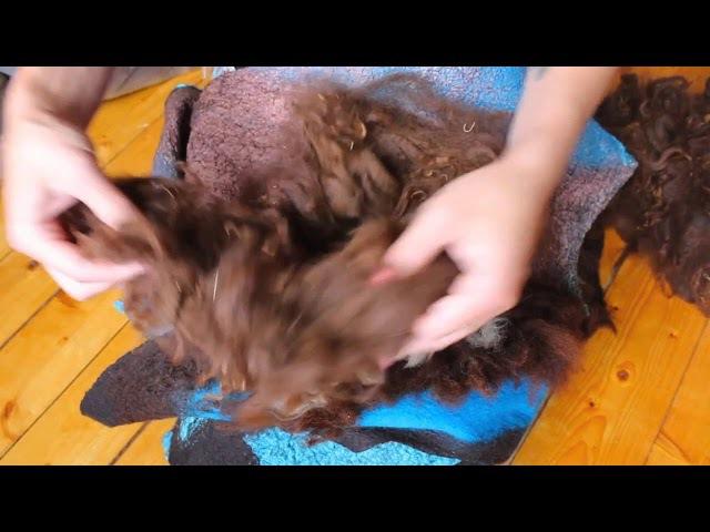 How to felted a collar with fleece curles FELTING ВАЛЯНИЕ: валяем эко-мех на готовом изделии.