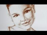 Портрет нарисованный песком. Смотреть Всем!!!))