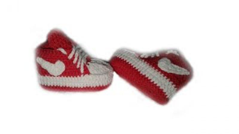 вязанные пинетки-кеды Nike ч.2