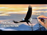 ACRYLIC PAINTING DEMO  How to paint a bird at sunset