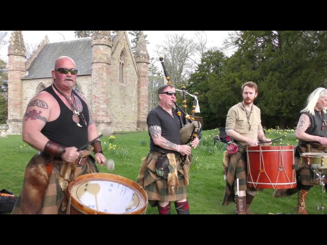 Scottish tribal band Clann an Drumma performing Bloodline album mix at Scone Palace, Scotland