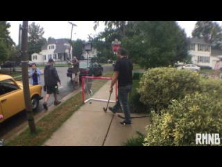 Alex Ovechkin does some puck juggling during down time at Papa Johns commercial shoot
