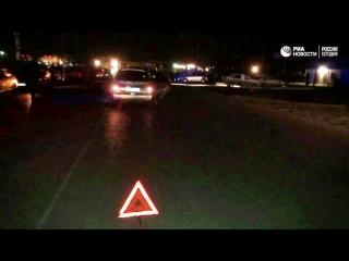Кадры с места нападения на наряд ДПС в Астрахани