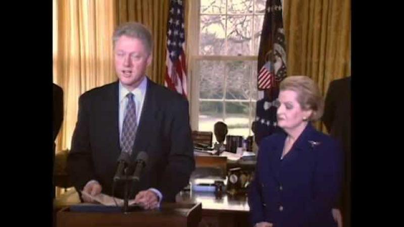 Присяга Мадлен Олбрайт на пост Государственного секретаря США. 23 января 1997 года.