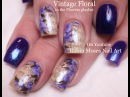 Vintage Navy Nail Art Design Tutorial with Purple Antique Flowers