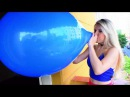 Tiffany Blow to pop big balloon (girl popping balloon )