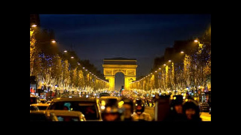 Франция.France.Paris.Ночной Париж.Les champs Elysees.