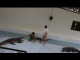 Тайланд_Шоу с  крокодилами_Резко щелкнул зубами, а русский турист стоит рядом и ничего не боится_04.03.2013